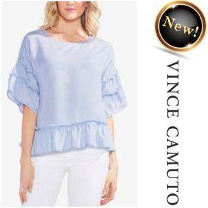 NEW!! VINCE CAMUTO Light Blue Tencel Ruffle Top